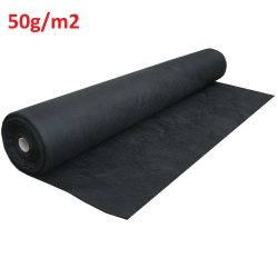 Talajtakaró fekete geotextília 50g/m2 UV stab. 0,8m x 100m (80m2)