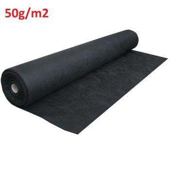 Talajtakaró fekete geotextília 50g/m2 UV stab. 1,60m x 100m