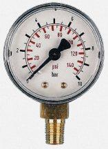 Glicerinnel töltött nyomásmérő óra, INOX, max. 10 bar
